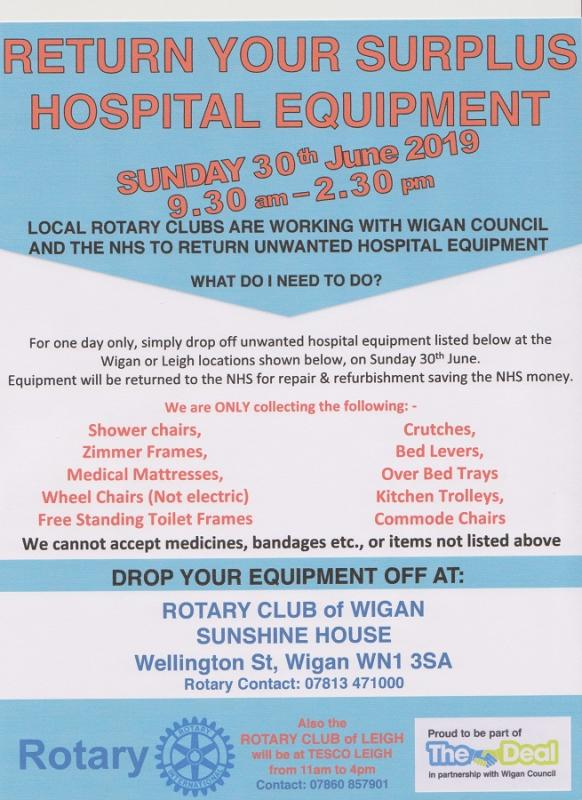 Surplus Hospital  Equipment Collected by Rotary -