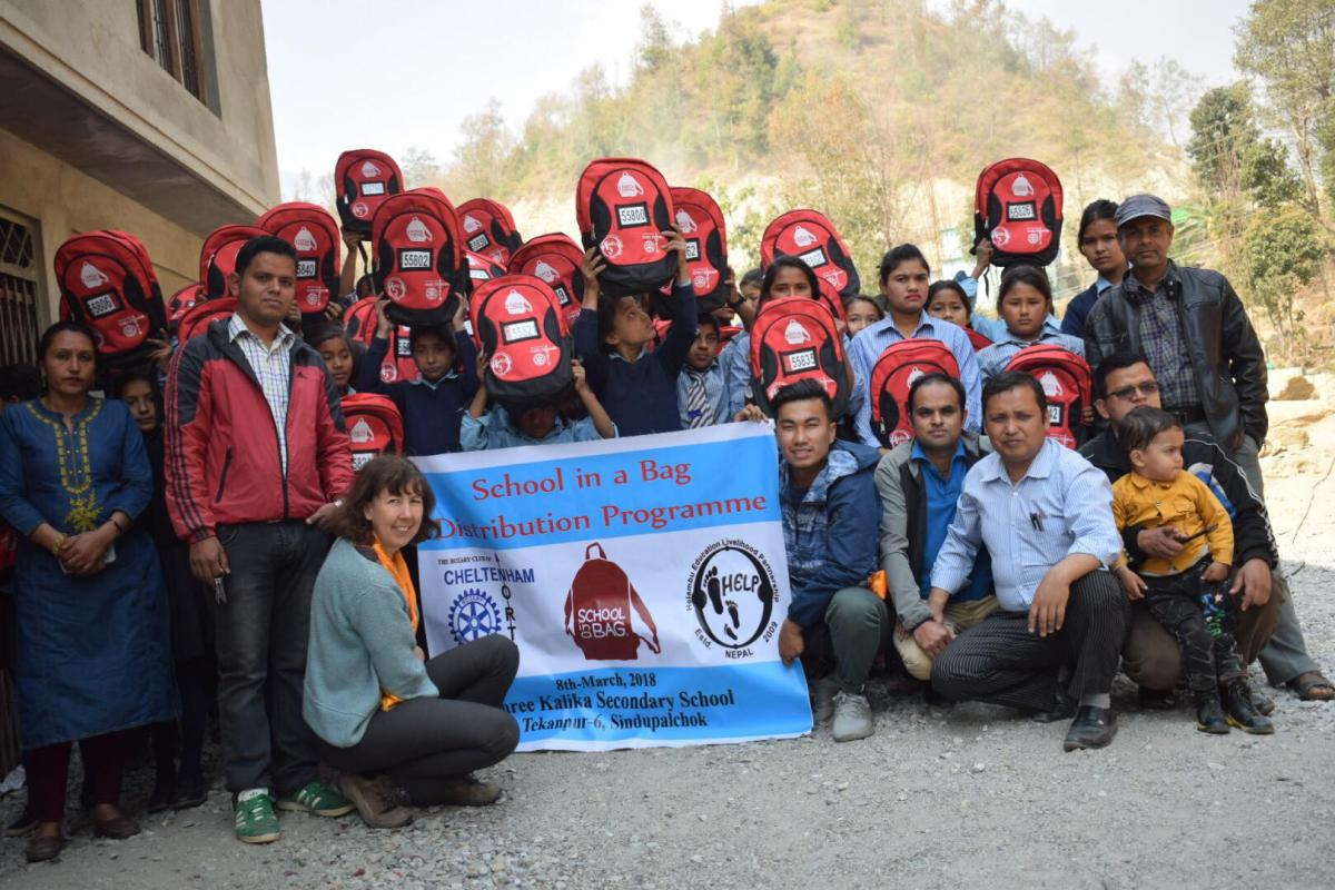 Cheltenham North News  - Pubils in Nepal with their  Bags