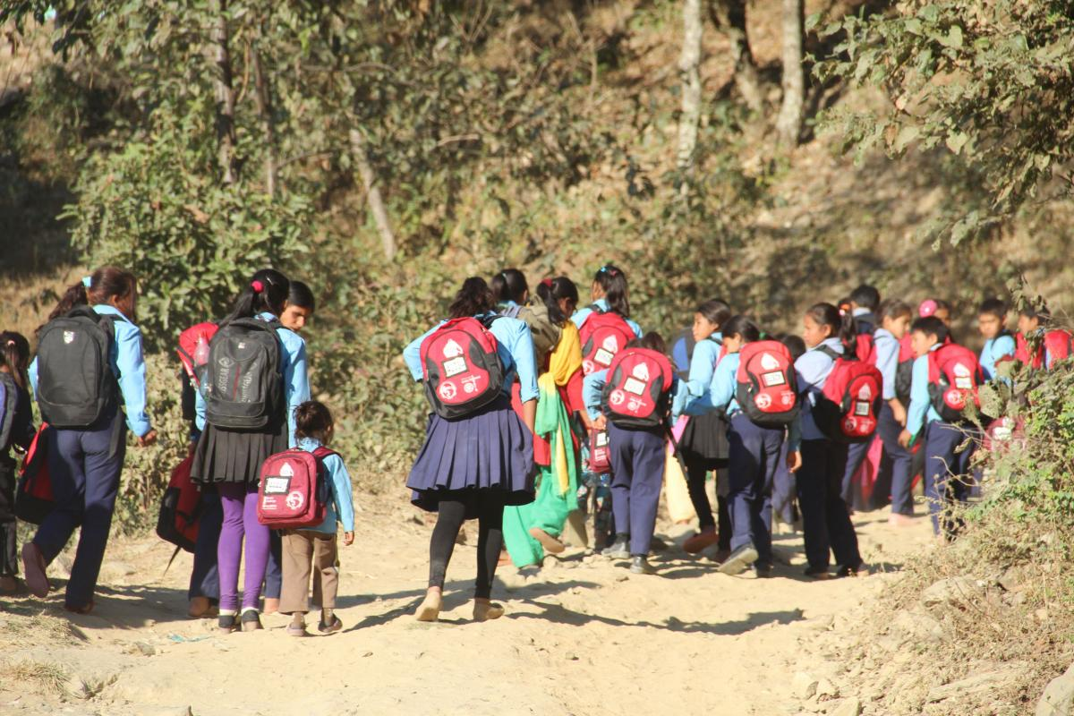 Cheltenham North News  - Pupils in Nepal with their Bags