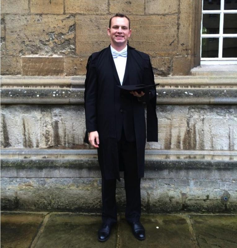 Rotary Scholars - Sean Toal after matriculation, a ceremony that marks his acceptance by the University of Oxford. His outfit is 'sub-fusc', the traditional Oxford academic dress worn for matriculation and while taking exams.