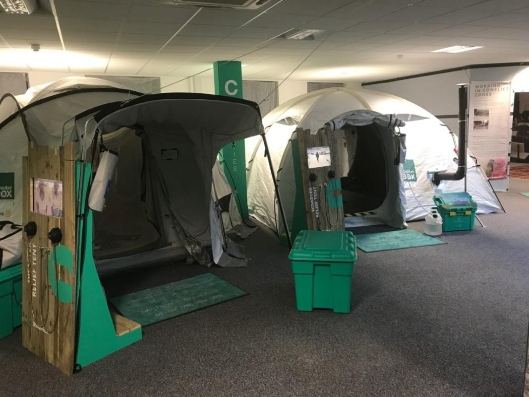 Visit to ShelterBox H.Q. - A normal tent and a cold climate tent (with a heater)