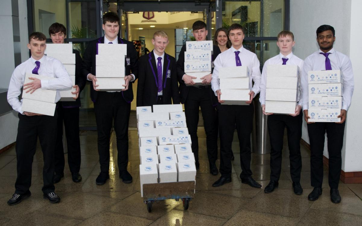 Rotary Shoeboxes 2018 - Shoeboxes collected by Wallace High School ready for collection