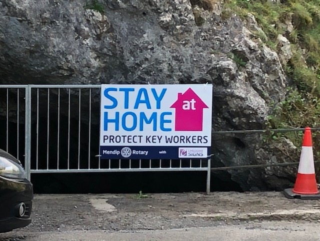 The Club erect Stay at Home signs - Thanks to Cheddar Signs