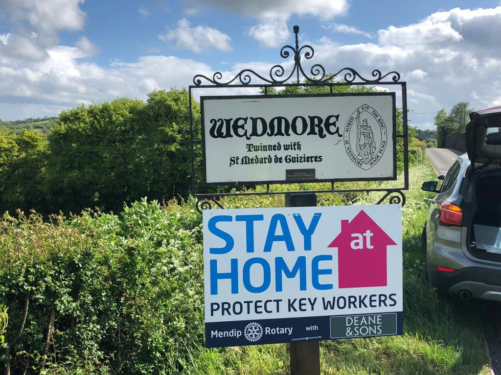 The Club erect Stay at Home signs - Signs in Wedmore