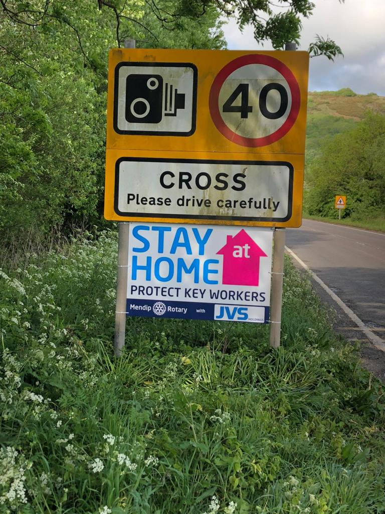The Club erect Stay at Home signs - Sings in Cross