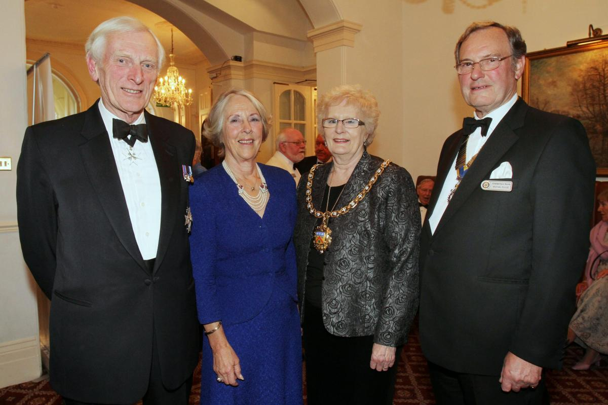 Cheltenham North Charter Anniversary Dinner 26th April 2012 - Sir Henry and Lady Caroline Elwes Councillor Barbara Driver Mayor and Dr Michael Rouse