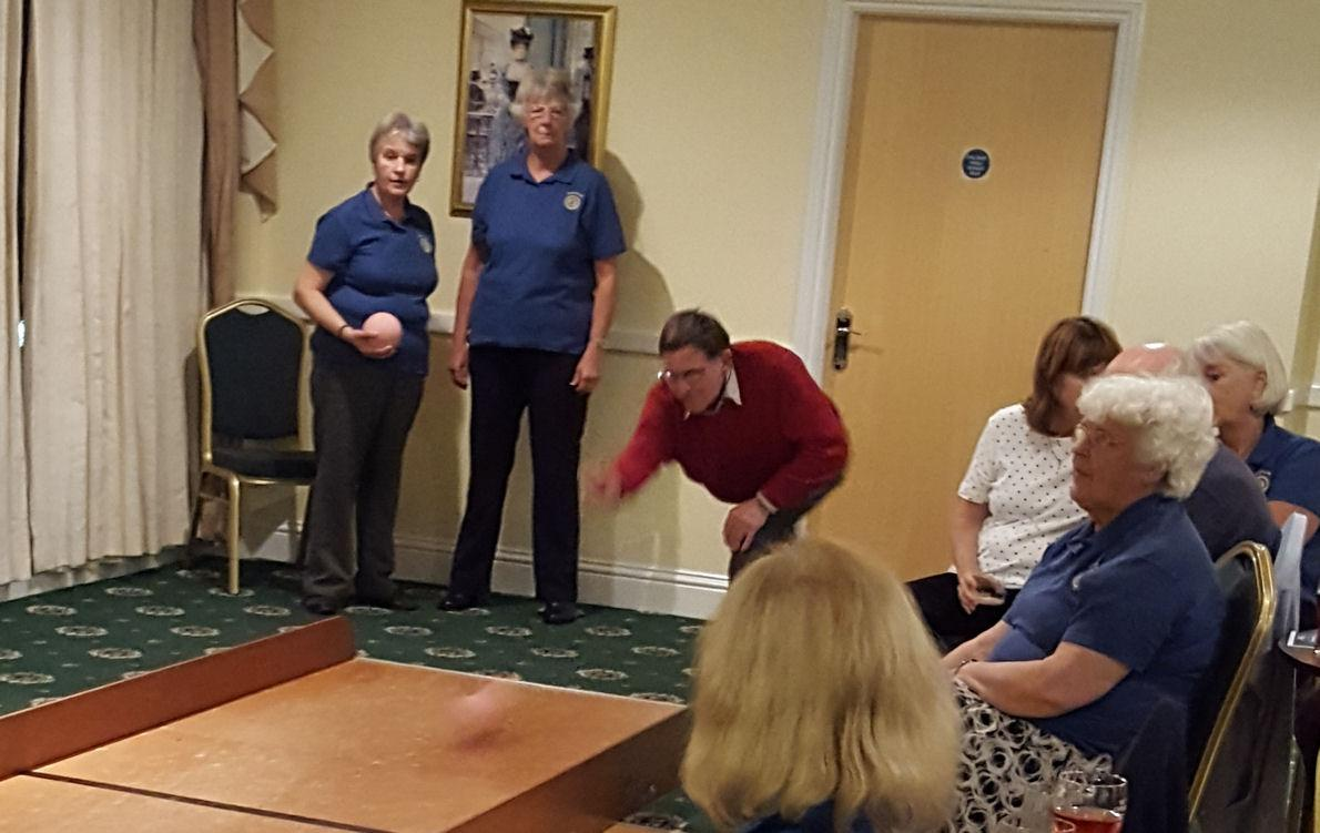 Shanklin Rotary Club Triumphant in Skittles Showdown - Peter Thompson shows off his bowling prowess