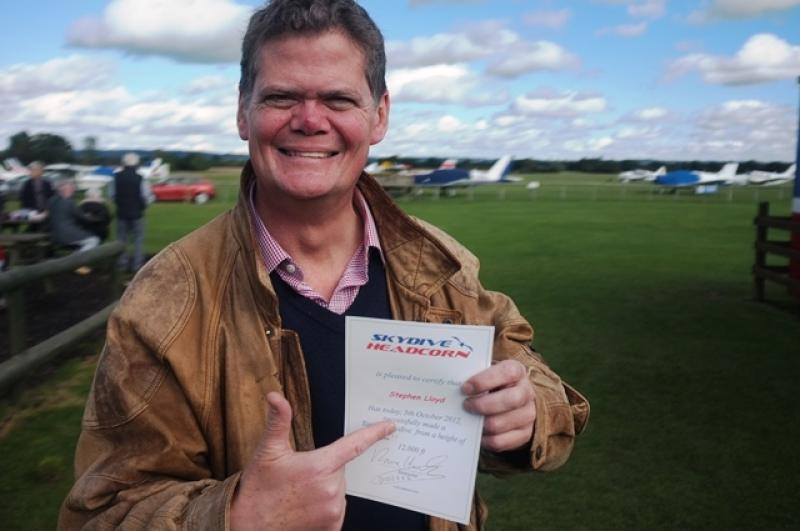 Stephen Bales Out for Charity - Stephen Lloyd successfully completes the sky dive.