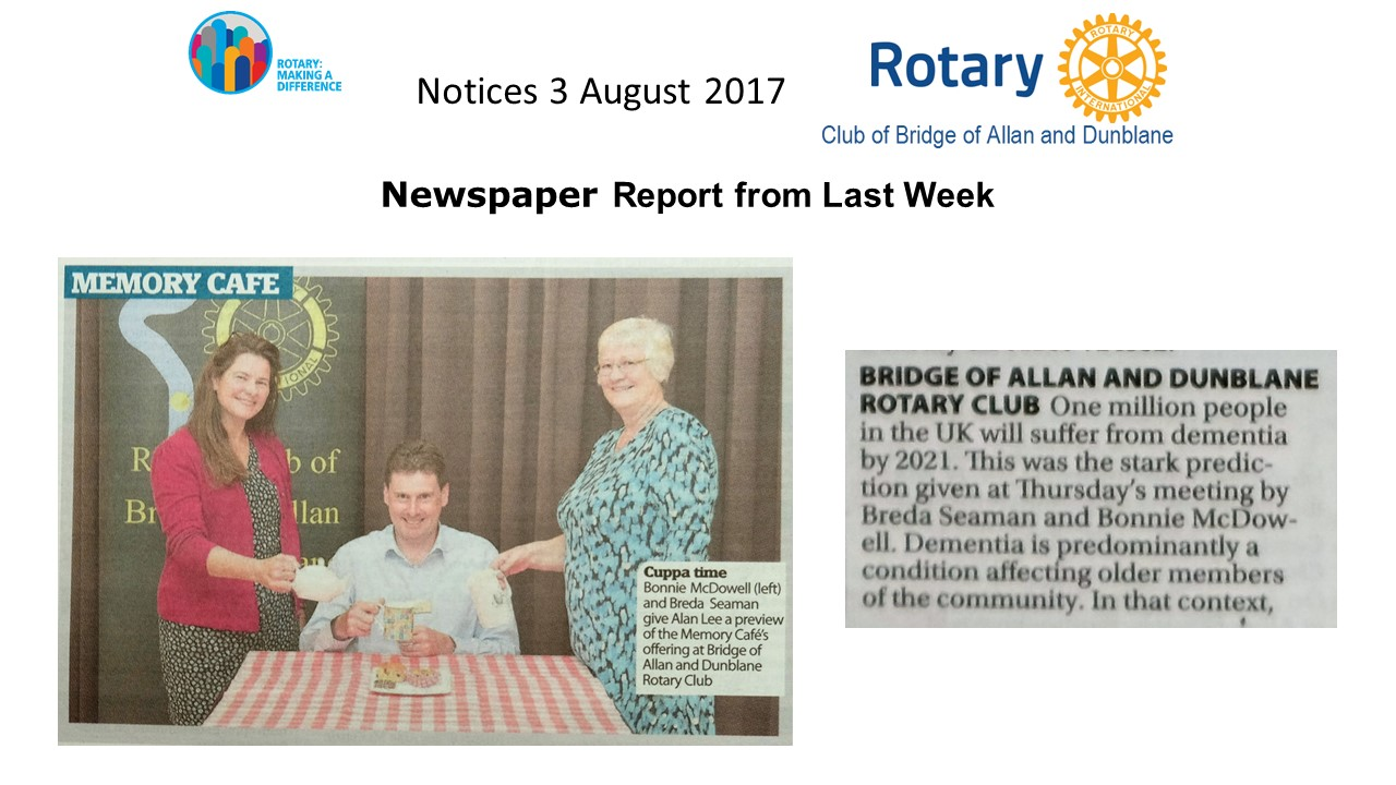 Visit of District Governor - Graeme Archibald 3 August 2017 -