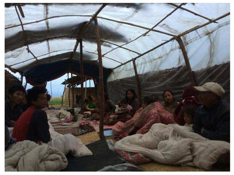 Mirge Nepal Update 1 - Villagers living in a communal tent