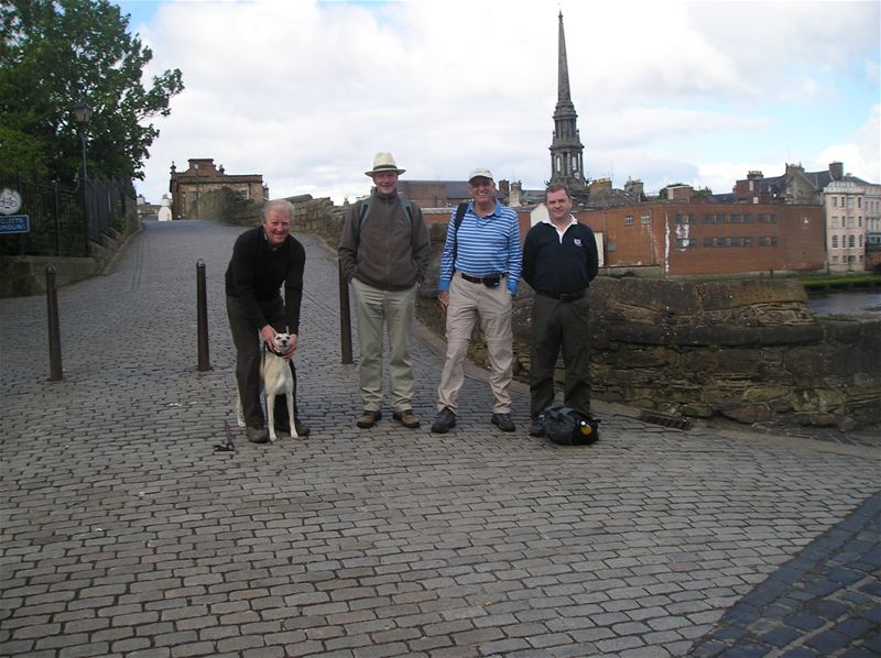 Sponsored Walk  May 2010 - 30/5/10 Four men an a dog.