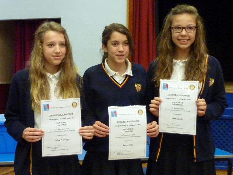 Nov 2013 Rotary Youth Speaks 2014 - St Bedes C2 Team