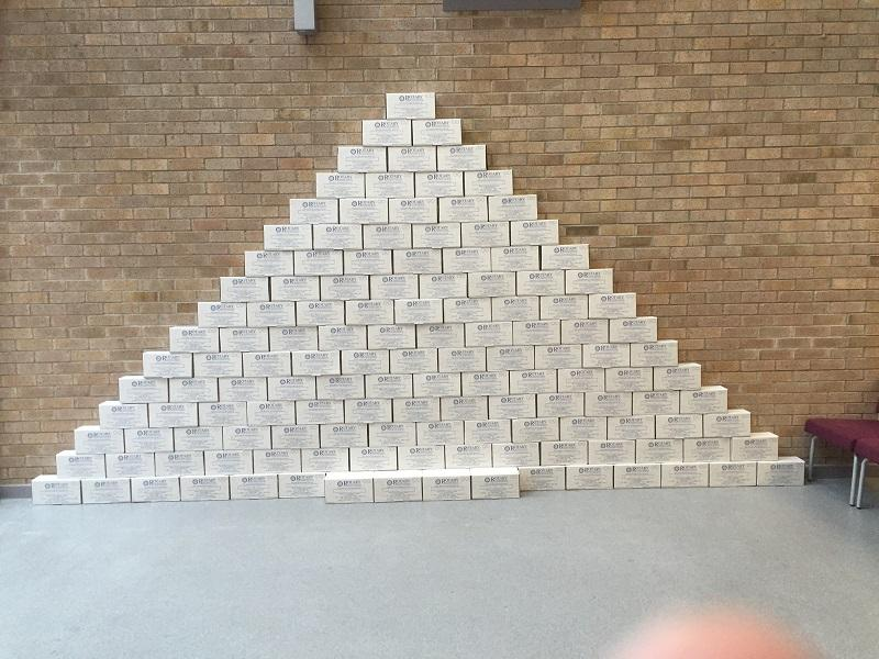 Shoebox Project  - Pupils of St. Stephen's School built a pyramid of shoeboxes
