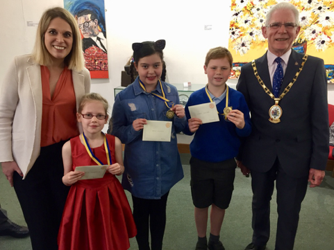 Art and Handwriting Competition 2018 - Laura Smith MP, Lillie Mogridge Acton School, Lola Hilton Acton School, Louise Hayer Stapeley Broad Lane School & Mayor Arthur Moran