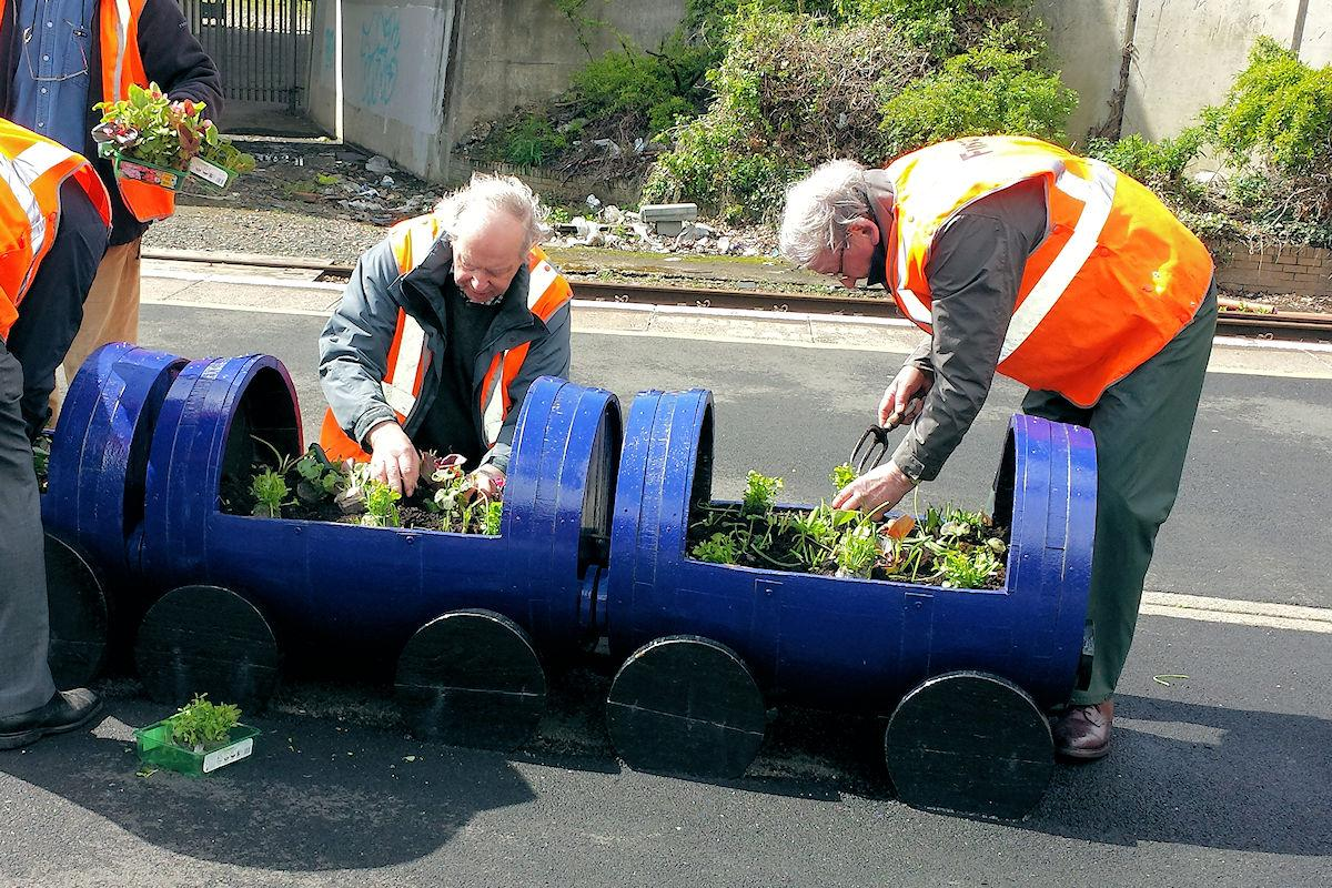Local Community Activities and Charities - Club members putting on a good display of colourful plants at Exhibition railway station.