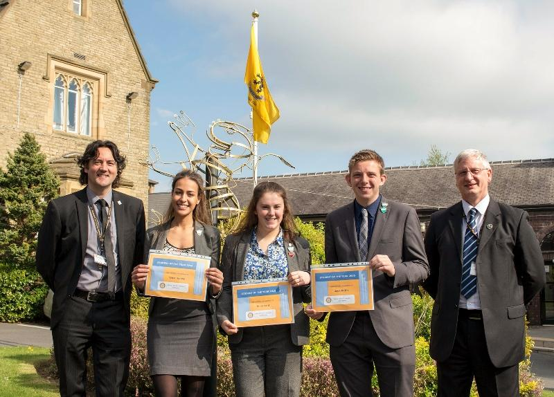 Student of the Year - Students with Headteacher Karl Newell and Chair of Governors Gordon Main
