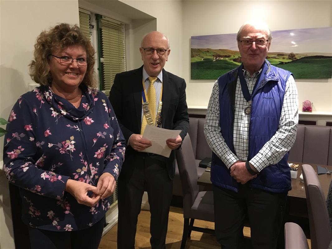 Rotary's Newest members in Yorkshire for 2017 - Susan Rogers with Wensleydale Pres John Morton and Pres Elect Howard Binks