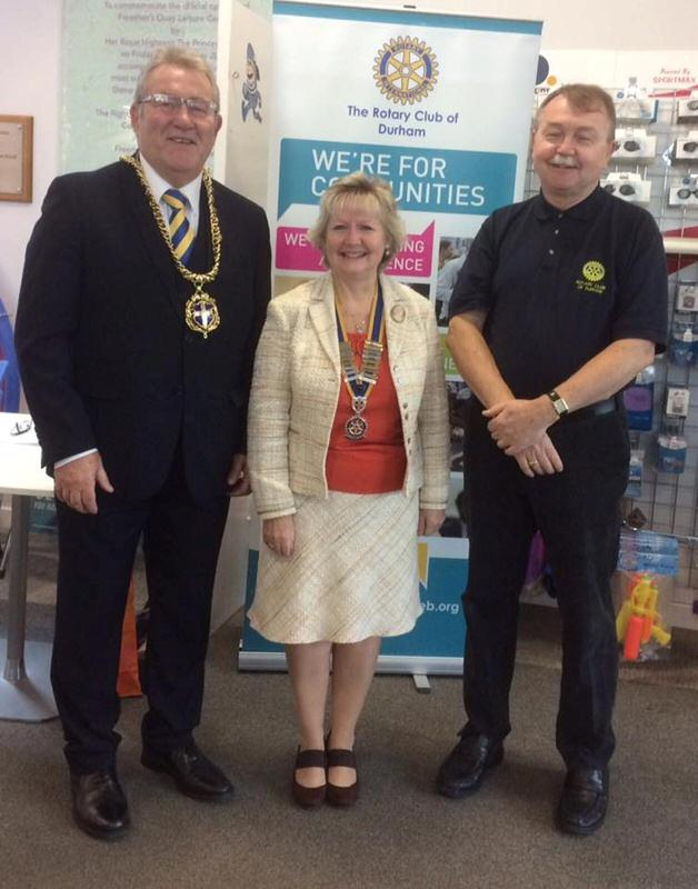 Annual Swimathon - the ninth! - The Mayor of Durham, Eddie Bell, came - here with President Pauline and Vice-President Ed