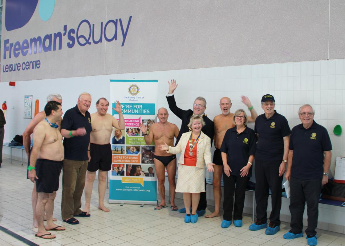 Annual Swimathon - the ninth! - They gathered with other members - and the Rotary Triers team before the off.