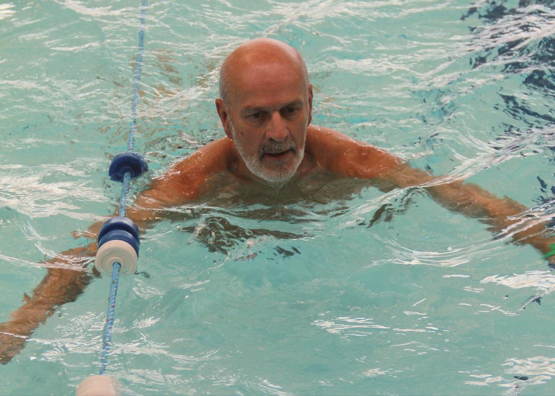 Annual Swimathon - the ninth! - DG Nominee Stewart Atkin making good time.
