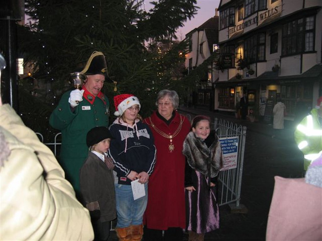Reindeer Parade Photos -  The Mayor of Wells, Councillor Christine Ballasteros, switchers on the Christmas Lights