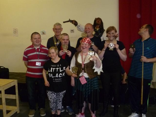 Terence O'Grady Social Club - Pool competition winners with President Les and Jack Sparrow