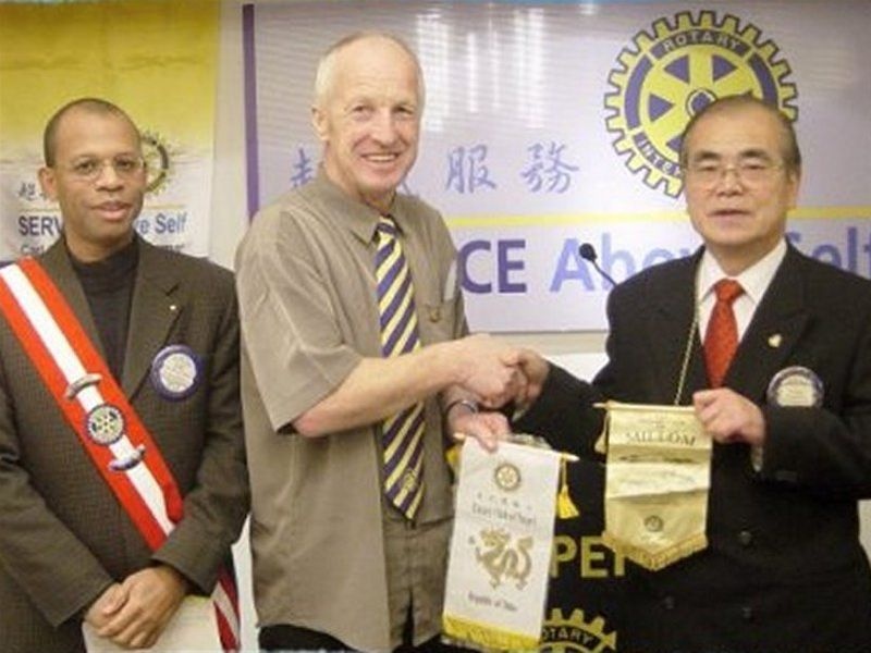 Millom Rotarians on their Travels - Bobby Tyson is welcomed in Taipei in Taiwan.