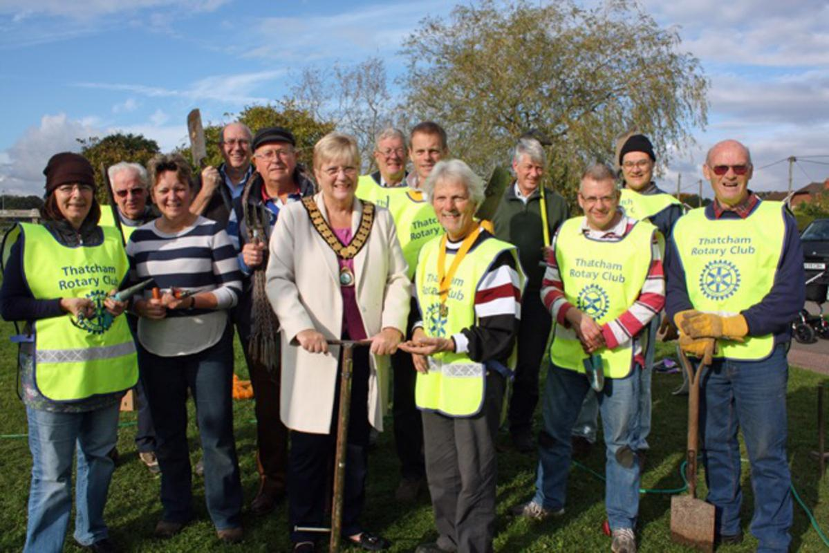 Growing Together to End Polio Now - planting at the Henwick Sports Field with the Town Mayor Ellen Crumley