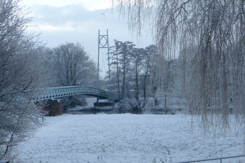Blandford in the snow -  The Blue Bridge