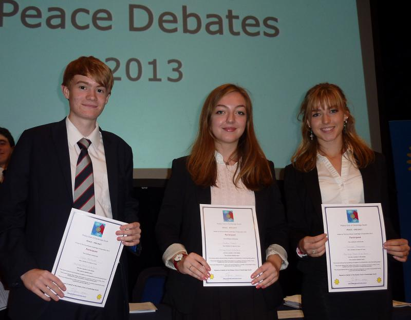 Sep 2013 Peace Talks and Debate with Sixth Form students - The Leys Sixth Form Team came second