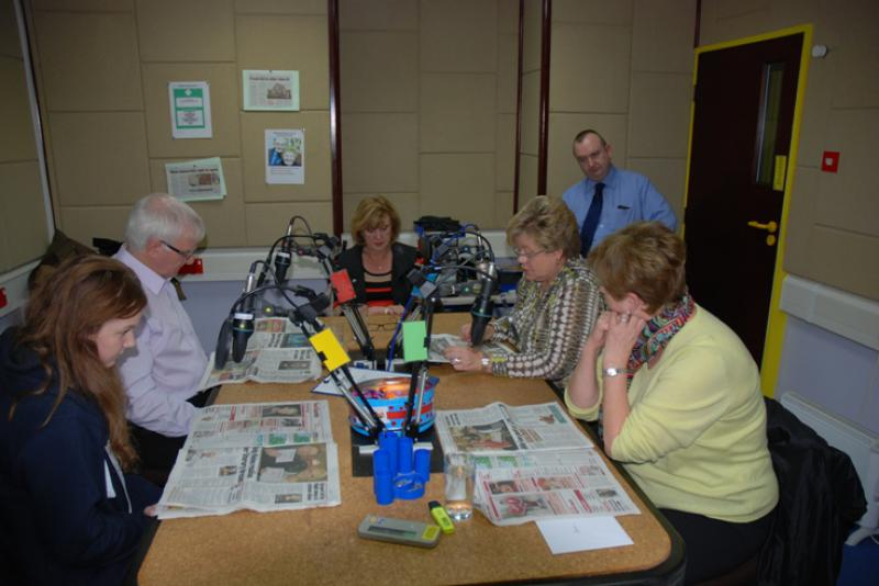 THE TALKING NEWSPAPER TEAM - The Readers from left to right are Katie Clempson, Trevor Bennett, Anne Hind, Jacqui Longden & Anne Eason.
