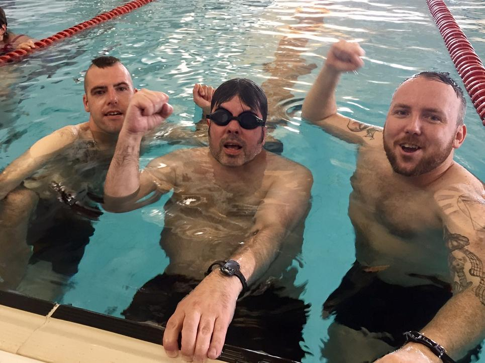 Charity Swimathon 2017 - The boys celebrate after their fantastic efforts in the pool