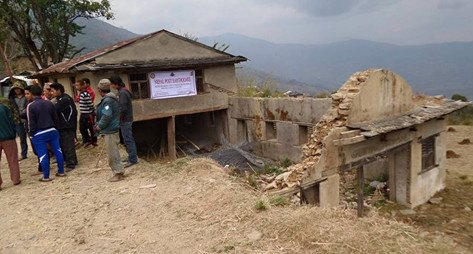 Nepal - Rebuilding the Bhumlichok Community Centre - The damaged building
