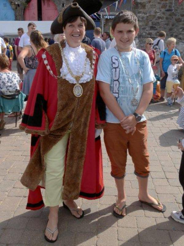 Family Fun Harbour Spectacular 2013 - The footwear of choice for the Mayor in a seaside resort is of course- flipflops! Mayor Cllr Sue Lane is pictured with Consort (and grandson) Lewis Walters