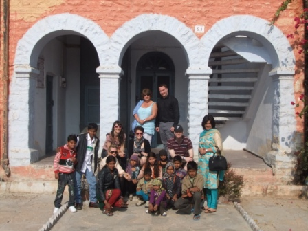 Ben's GSE visit to India - The team with local children at the Salt Lakes