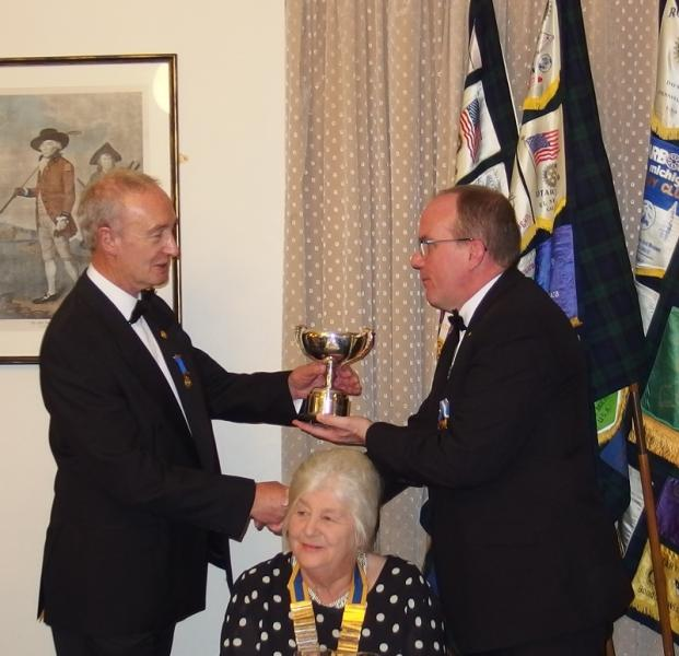Rotary Club of Dunbar President's Night  - Robin Hamilton receives the John Kenny Trophy from DG Andy Ireland