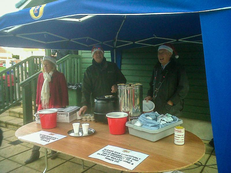 Christmas Appeal Tin Shake at the Rugby Club - JRR Tolkien returns? assisted by Tony and Ron