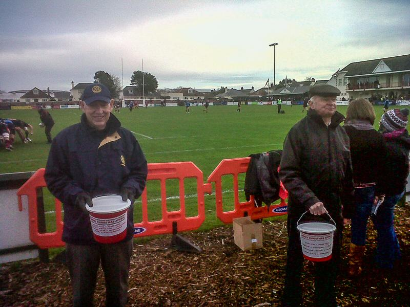 Christmas Appeal Tin Shake at the Rugby Club - the goalposts!