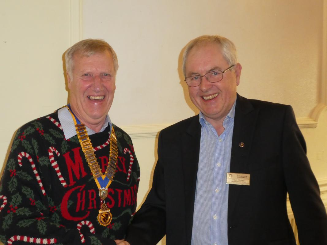 Christmas Lunch - Tony Coxhill receiving his Paul Harris Fellowship from President Michael