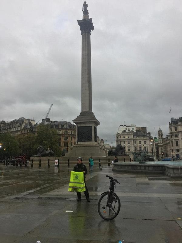 Triumph of Nuneaton Rotarian !! - Steve Posing by Nelson's Column in Trafalgar Square.