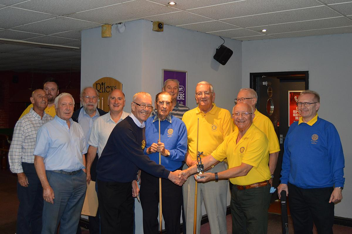 Annual Snooker Match v Abbeydale Rotary Club - Handing over the trophy to Abbeydale.
