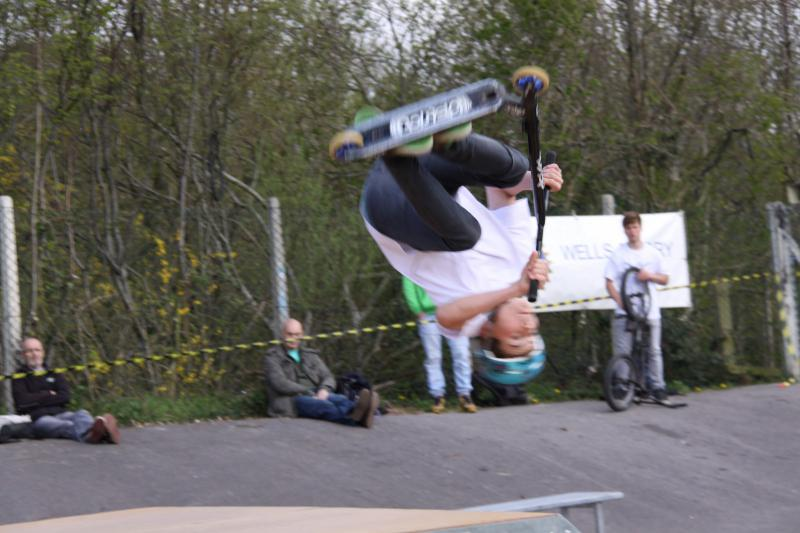 Wells Skate Board Park Re-Opening Ceremony - Upside-Down-Scooter