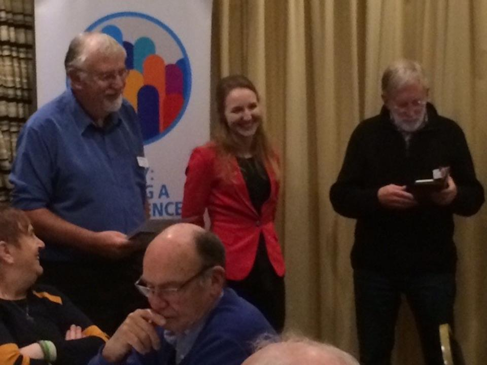 RCAD Welcomes two new members. - Veja, being introduced by Rotarian Julien Brown