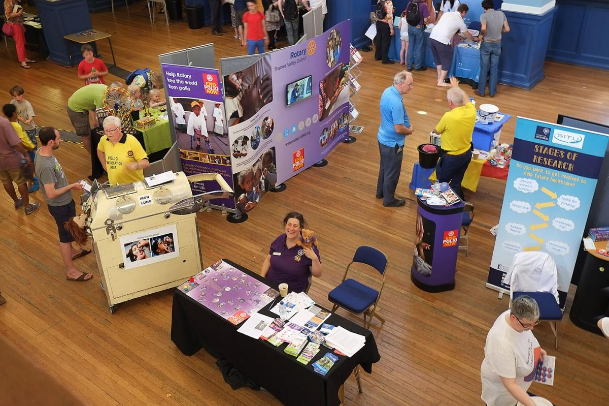 Turning Purple for Polio at Oxfordshire Science Festival - With fewer exhibitors we were able to spread our wings, enabling more visitors to explore our exhibits in greater detail