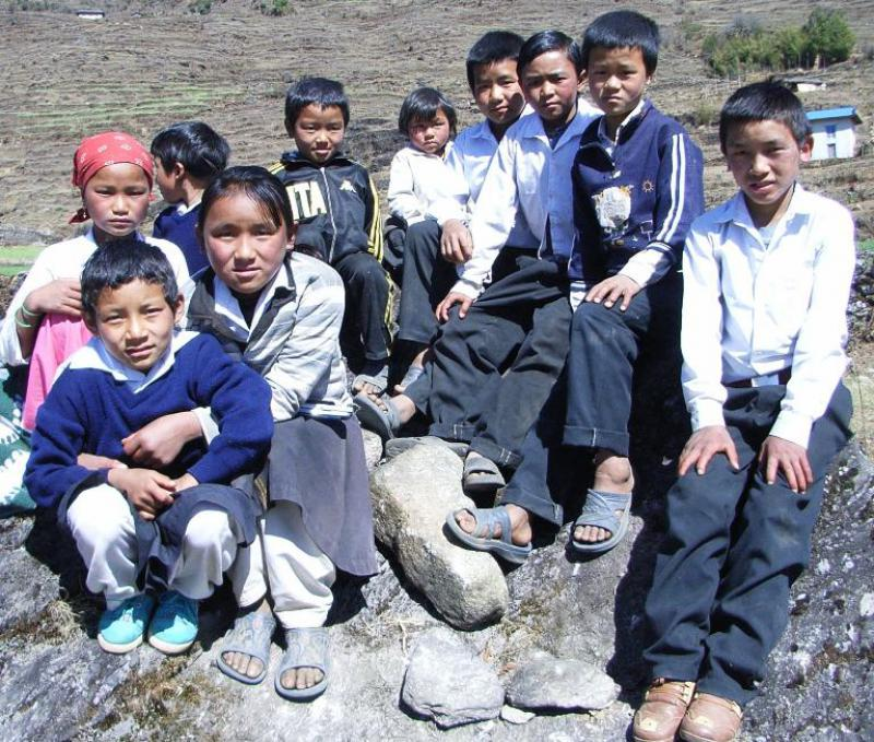 Khiraule Education and Health Project - Group on the rocks