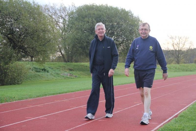 A Walk to End Polio  - 8:00 am sharp and David set off with Club Secretary Ed Kear by his side.