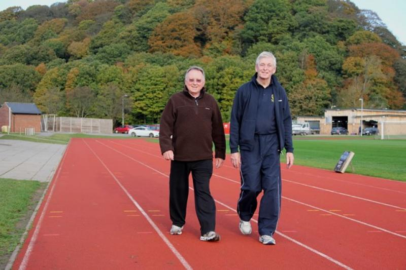 A Walk to End Polio  - Bill Armatage, President of the Durham Bede Club joined David for several laps ...