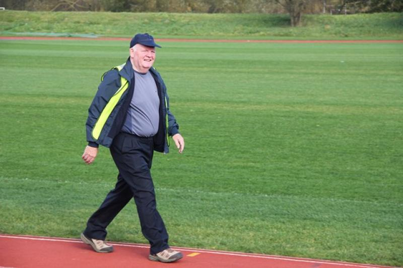 A Walk to End Polio  - Dennis Southwell, a past Mayor of Durham and a member of the Durham Bede Club set a cracking pace.