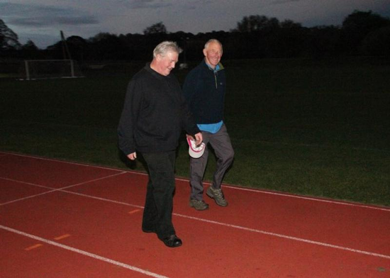 A Walk to End Polio  - John Shaw from the Durham Bede Club and Michael Dynes from the Derwentside Club completed many laps in the gathering darkness - powered by a lot of chat!