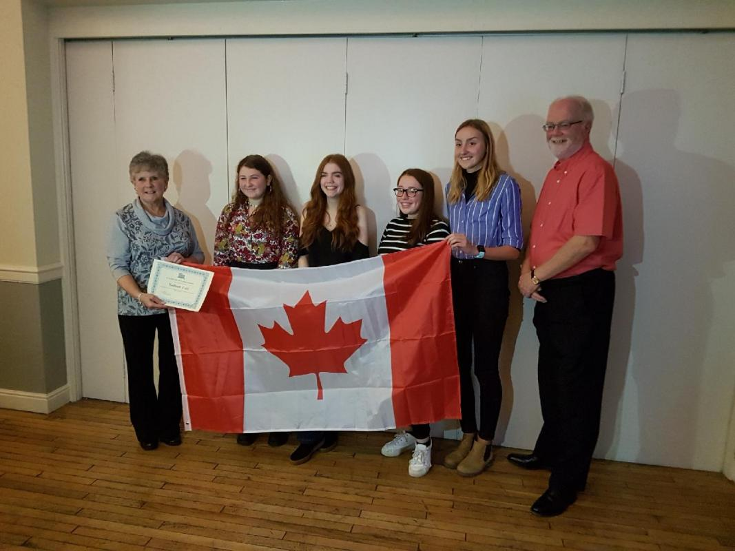 Canada Exchange - Students are presented with their Certificates by IMM Past President Dawn Stephens
